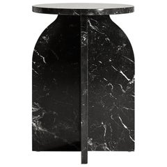 """Plus Side Table"" Minimalist Side Table in Marquina Marble"