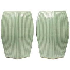 Pair of Chinese Celadon Garden Seats