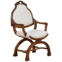 Continental Shaped, Carved, and Upholstered Walnut Armchair, 19th Century