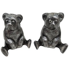 Pair of Silver Teddy Bear Salt and Pepper Shakers