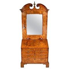George I Walnut Bureau Bookcase/Cabinet, circa 1725