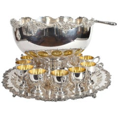 Vintage English Georgian Style Silver Plated or Copper 15 Piece Punch Bowl Set