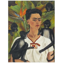 Frida Kahlo Self-Portrait, after Oil Painting by Expressionist Artist