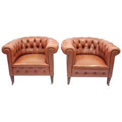 Pair of Chesterfield Club Chairs on Castors, 1940s