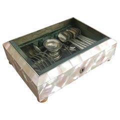 Large Antique Mother of pearl Display Box with Beveled Glass Top & Silver Spoons