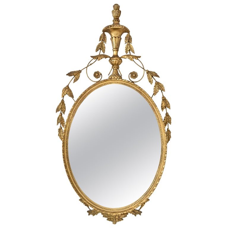 Adams Style Oval Giltwood Mirror, Italy, circa 1950s
