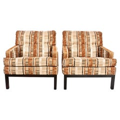 Pair of Harvey Probber for Directional Custom Club Chairs with Matching Ottoman