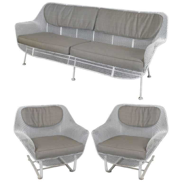1950s Russell Woodard 'Sculptura' Sofa and Pair of Lounge Chairs For Sale