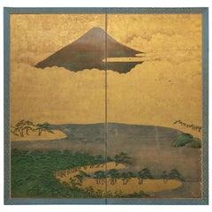 Japanese Two-Panel Screen, View of Fuji-San