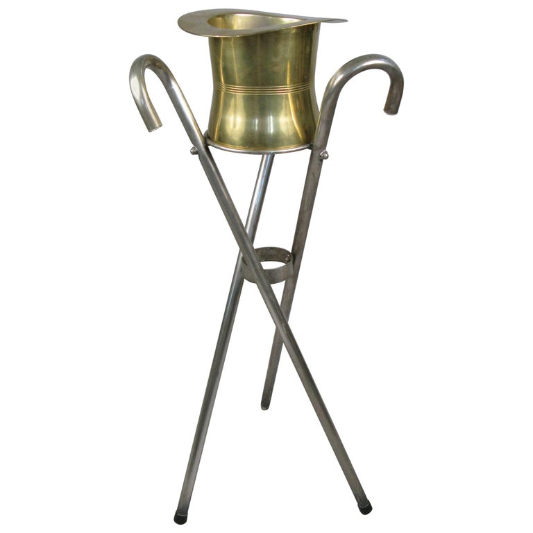 1970s Silver Top Hat and Cane Champagne Bucket on Stand For Sale