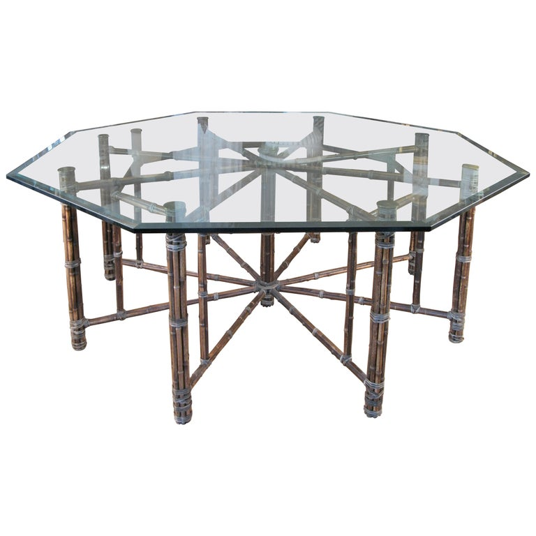 Large 1970s Octagonal Rattan and Leather Dining or Center Table by McGuire