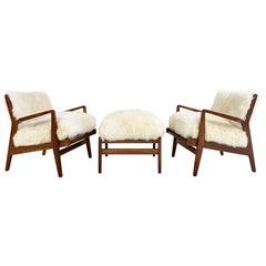 Vintage Jens Risom Lounge Chairs and Ottoman Restored in Brazilian Sheepskin