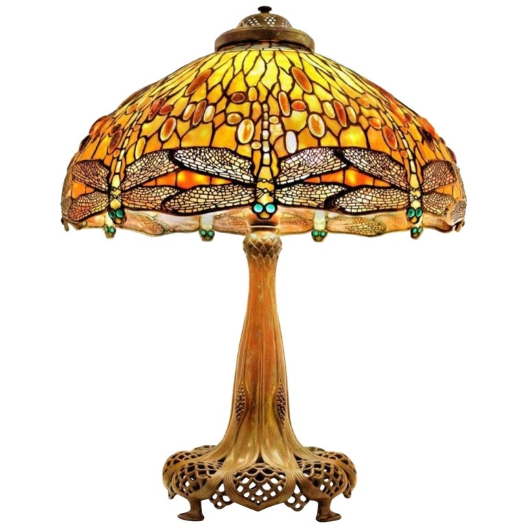 Jeweled Drop Head Dragonfly by Tiffany Studios, Stamped, circa 1910 For Sale