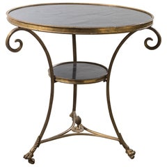 Marble-Top Brass Gueridon Table