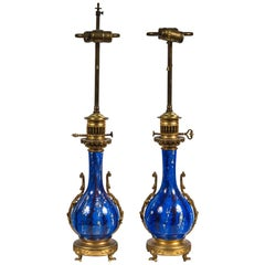 Pair of 19th Century Blue and Paint Splattered Porcelain Lamps