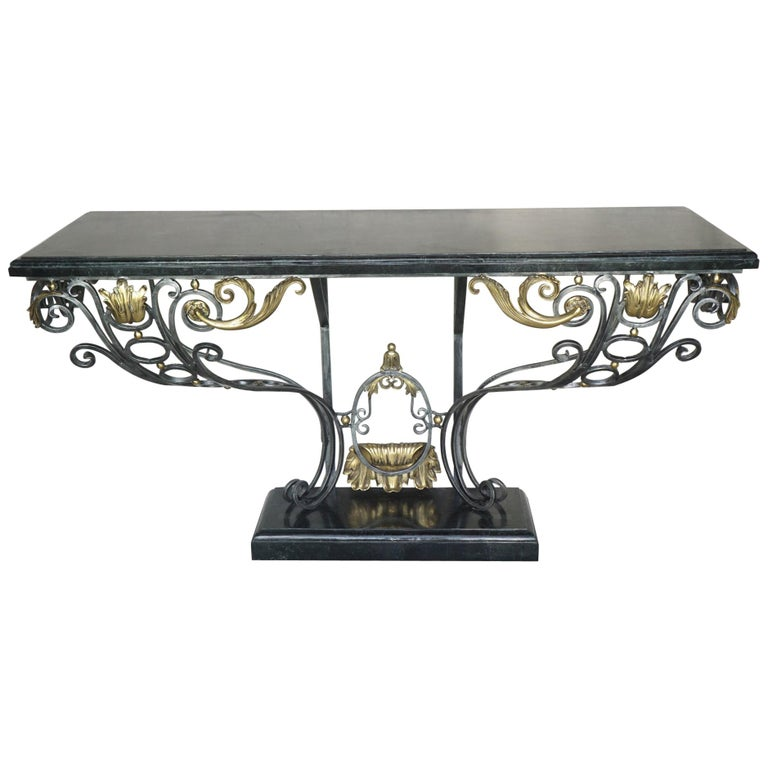 Louis XV Style Polished Steel & Polished Bronze Marble Topped Console Table For Sale