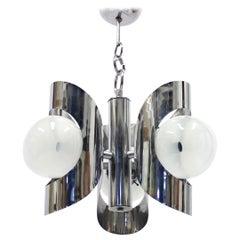 Italian Three-Light Chromed Ceiling Light, 1960s