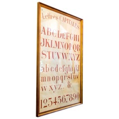 Hand Painted Very Graphic Alphabet Chart Featuring Capital Letters in French