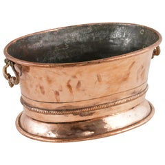 Early 19th Century French Charles X Period Copper Champagne Bucket, Four Bottles