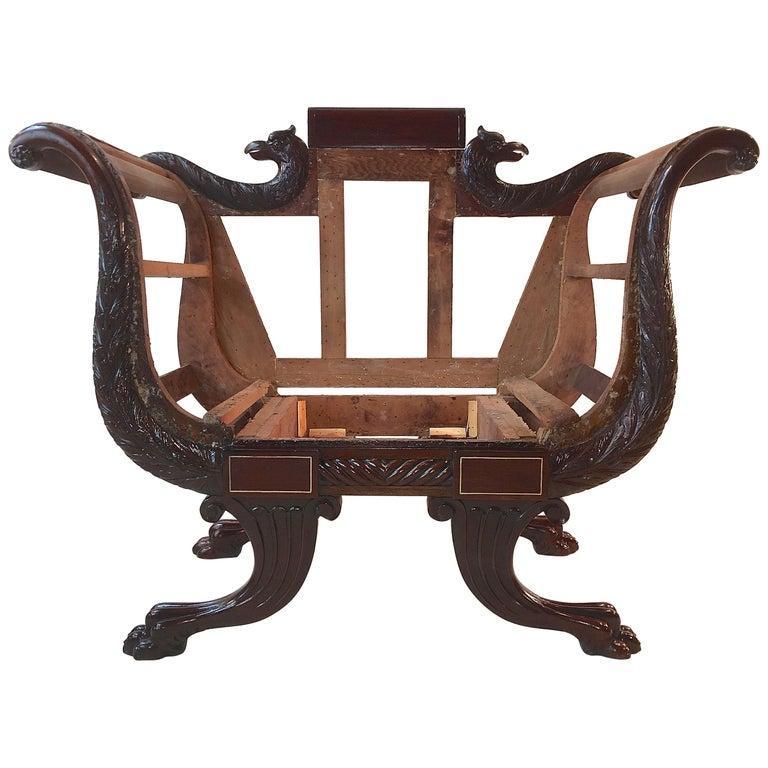 American Empire Mahogany Armchair For Sale