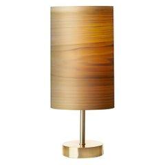 SERRET Brushed Brass Table Lamp and Custom Poplar Wood Shade