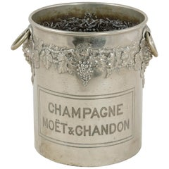 Mid-Century French Moet Et Chandon Silver Plate Champagne Bucket, Grapes Motif