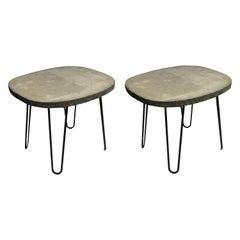 Mid-Century Modern Cement Barrel Side Tables