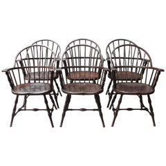 Set of Six Rare Steel Windsor Chairs