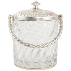 Early 20th Century French Baccarat Crystal Ice Bucket with Sterling Silver Lid