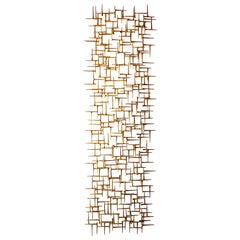 Large Gilded Metal Rectangular Wall Sculpture by American Artist Del Williams