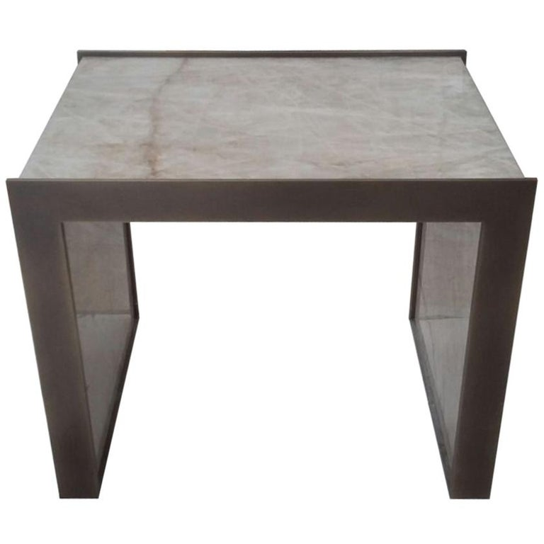 Maschi Custom Table in Cristallo Stone and Metal by Kreoo For Sale