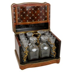 19th Century French Napoleon III Period Rosewood Tantalus Liqueur Caddy, Crystal