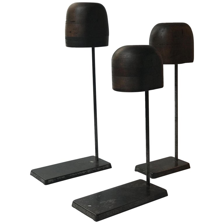 Set of Late 19th Century Wooden Hat Stands on Iron Bases from England
