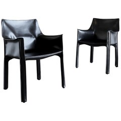 "Black Leather ""Cab"" Chairs by Mario Bellini for Cassina"