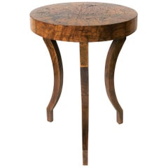 Small Round Wood Gueridon Side or Drinks Table