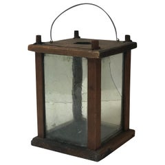 Late 19th Century Square Wooden Lantern from Sweden