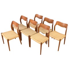 Set of Seven N.O. Møller Model 71 Teak Dining Chairs