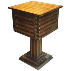 Early 20th Century Folk Art Side Table with Two Drawers