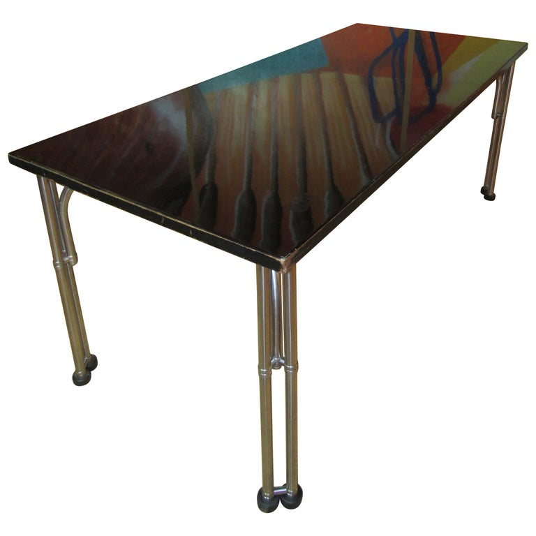 Warren McArthur Library Work Table Stainless Steel, circa 1935 For Sale