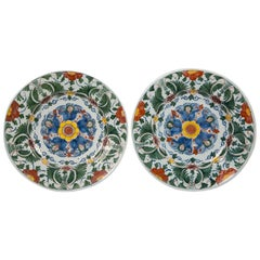 Pair of 18th Century Delft Chargers Painted in Polychrome Colors