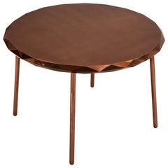 Stella Round Dining Table in Rose Gold Metal by Nika Zupanc