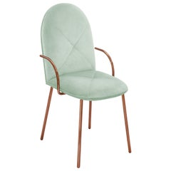 Orion Dining Chair Upholstered in Jade with Rose Gold Finish by Nika Zupanc