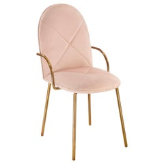 Orion Dining Chair Upholstered in Blush with Gold Metal Finish by Nika Zupanc