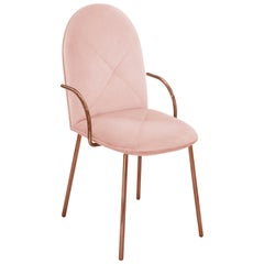 Orion Dining Chair Upholstered in Blush with Rose Gold Finish by Nika Zupanc