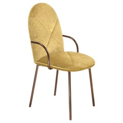 Orion Dining Chair Upholstered in Gold with Rose Gold Finish by Nika Zupanc