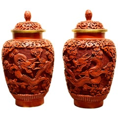 Pair of Midcentury Chinese Cinnabar Covered Ginger Jars