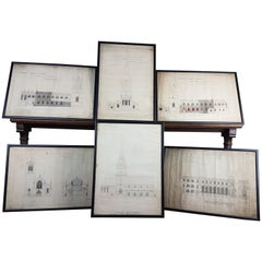 Group of 6 19th Century Architects Drawings by J. A. Chatwin