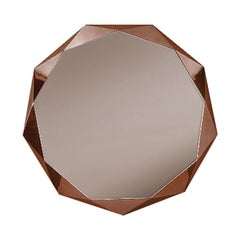 Stella Mirror, Small Round Mirror in Rose Gold Metal by Nika Zupanc