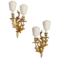 Set of Louis XV Style Gilt Bronze Wall Sconces