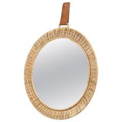 Scandinavian Rattan Mirror, 1950s